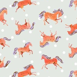 Frisky Horses | Red-Orange/Blue