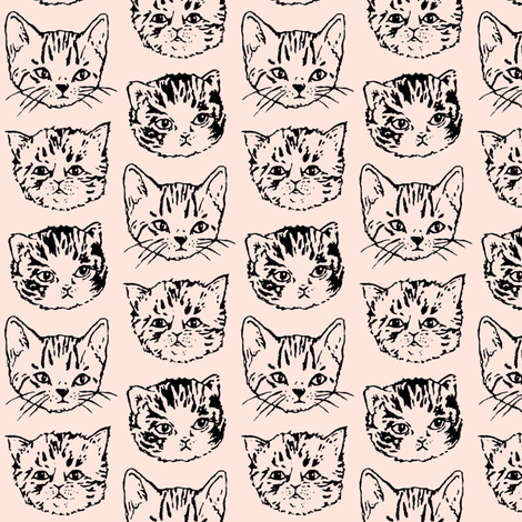 Cat Stack | Black on Peach fabric by imaginaryanimal on Spoonflower - custom fabric