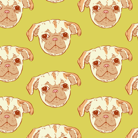 Pug Puppy | Green-Gold Background fabric by imaginaryanimal on Spoonflower - custom fabric