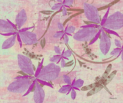 Purple Orchids & Dragonflies