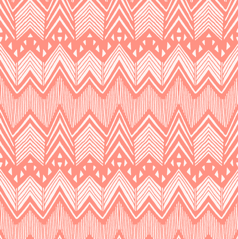 Coral Hand drawn Chevron fabric by kimsa on Spoonflower - custom fabric