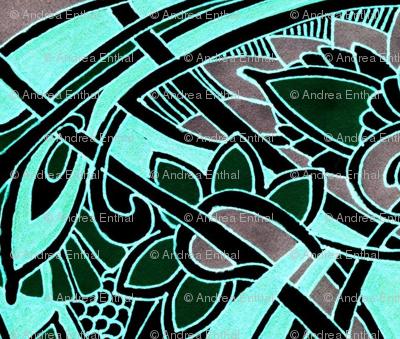 Nouveau Harvest in Blue (pseudo stencil)