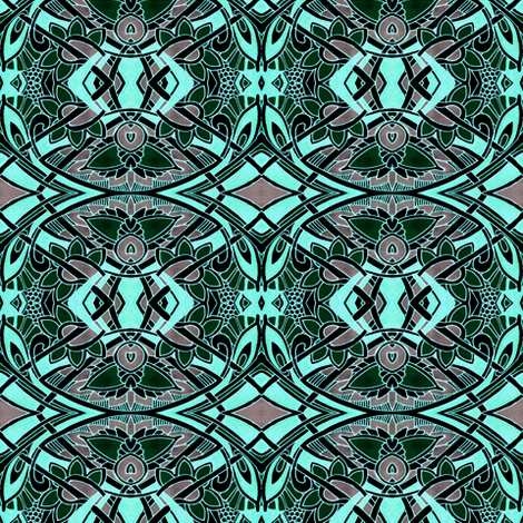 Nouveau Harvest in Blue (pseudo stencil) fabric by edsel2084 on Spoonflower - custom fabric