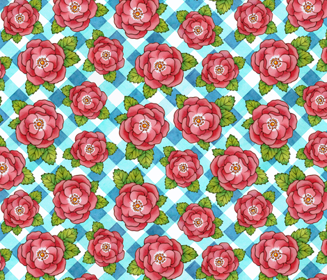 Alpen Rose with Gingham fabric by patriciasheadesigns on Spoonflower - custom fabric