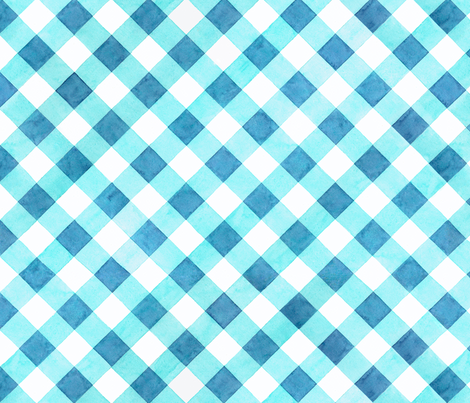 Alpen Rose Watercolour Blue Gingham fabric by patriciasheadesigns on Spoonflower - custom fabric