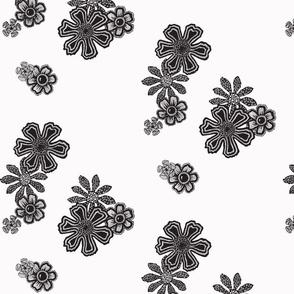 Black Doodle Flowers