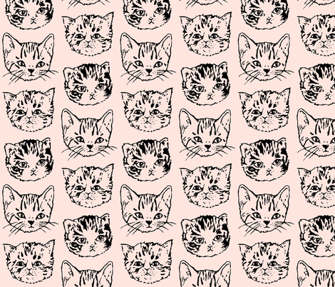 Cat Stack | Black on Peach | Large Scale fabric by imaginaryanimal on Spoonflower - custom fabric