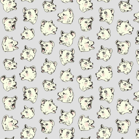 Burping Bears | Grey fabric by imaginaryanimal on Spoonflower - custom fabric
