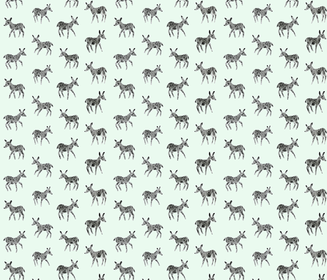 Grey Deer Friends | Mint fabric by imaginaryanimal on Spoonflower - custom fabric