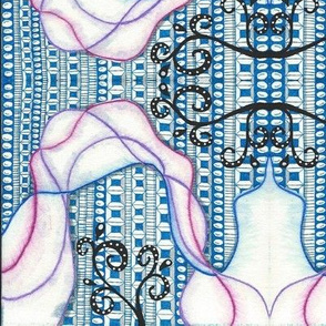 Blue Scarf Doodles