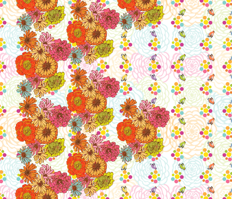FlowersDots_BirdsBorder fabric by strauberry on Spoonflower - custom fabric