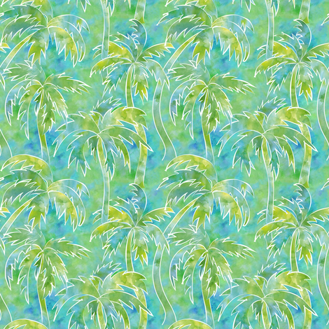 palm trees in watercolor fabric by vo_aka_virginiao on Spoonflower - custom fabric