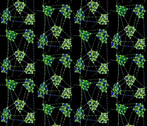Networks green on black fabric by kcs on Spoonflower - custom fabric