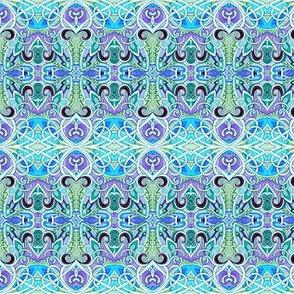 Scallop and Cross Bone Paisley (blue)