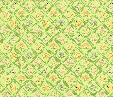 Woodland Trellis Yellow fabric by vinpauld on Spoonflower - custom fabric