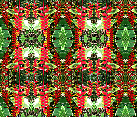 Hawaiian Mirrored Heliconia    fabric by hrhsf-designs on Spoonflower - custom fabric