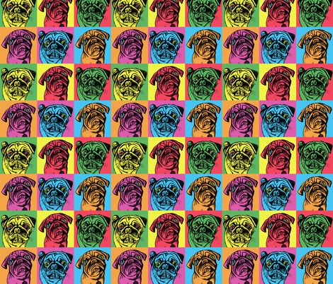 Retro Pug fabric by sixteenstitches on Spoonflower - custom fabric