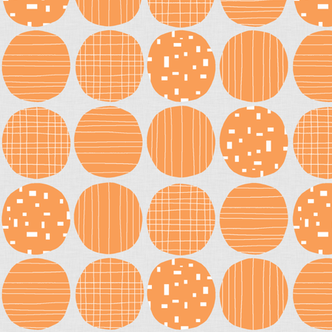 Orange circles (grey background) fabric by greennote on Spoonflower - custom fabric