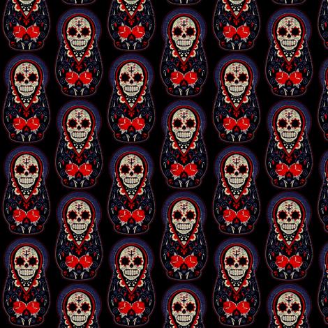 Sugar Skull Matryoshka-ed fabric by amyawesome on Spoonflower - custom fabric