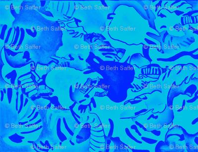 elephant abstract blues