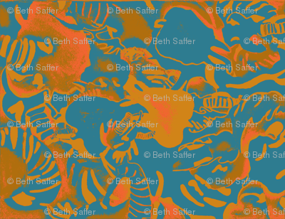 Elephant Abstract -teal orange