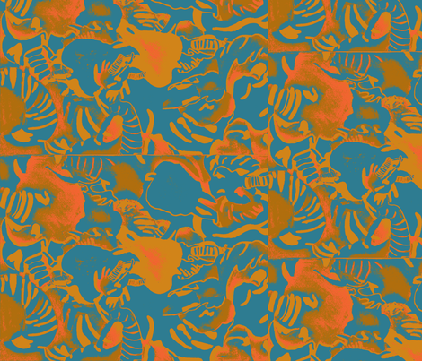 Elephant Abstract -teal orange  fabric by bettieblue_designs on Spoonflower - custom fabric