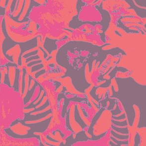 Elephant Abstract -pink gray orange