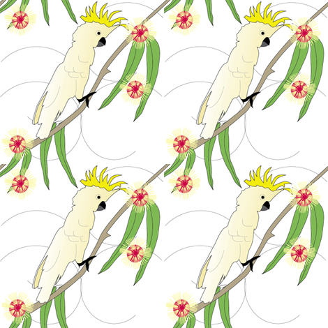 Cockatoo and Pin Cushion Hakea - white fabric by fiona_sinclair_design on Spoonflower - custom fabric