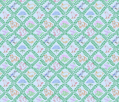 Woodland Trellis Blue fabric by vinpauld on Spoonflower - custom fabric