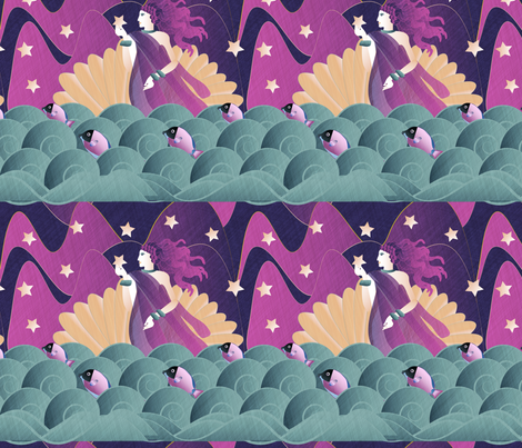 The Birth Of Aphrodite fabric by kociara on Spoonflower - custom fabric