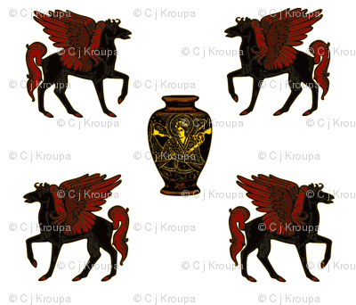 Greek Pegasus and Urn with Yellow