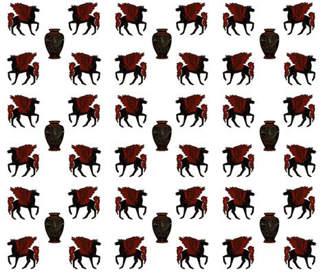 Greek Myth Pegasus and Urn fabric by ravynscache on Spoonflower - custom fabric