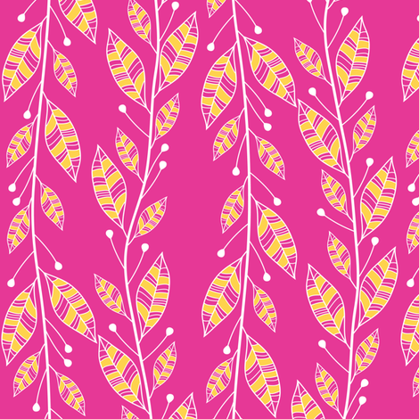 Bouquet Leaves (Pink) fabric by robyriker on Spoonflower - custom fabric