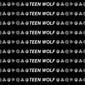 Teen Wolf White on Black w/ Text