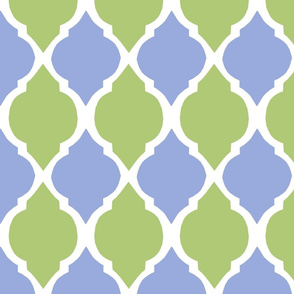 green tea and pale blue morocco tile