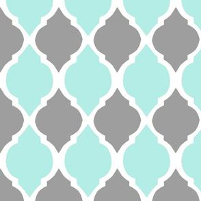 gray and aqua morocco tile