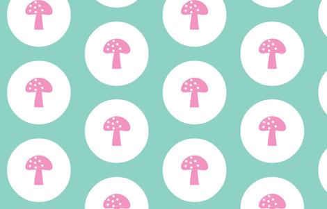 Woodland Magic Mushroom Mint dark fabric by emma_smith on Spoonflower - custom fabric