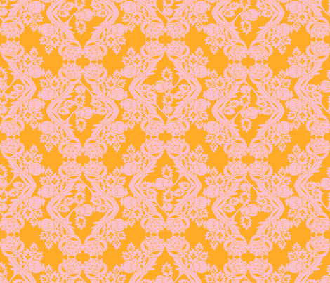 floral damask peach fabric by katarina on Spoonflower - custom fabric
