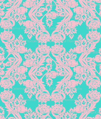 floral damask turquoise pink