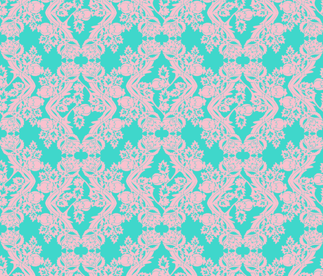 floral damask turquoise pink fabric by katarina on Spoonflower - custom fabric
