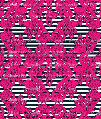 floral damask pink navy stripes