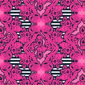floral_damask stripe navy pink