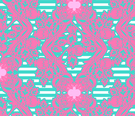 floral damask aqua pink fabric by katarina on Spoonflower - custom fabric
