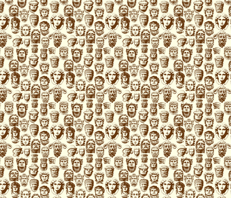 Faces of Derry -Cream and brown fabric by cherryandcinnamon on Spoonflower - custom fabric