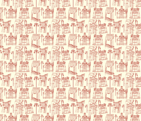 Windows on to the Arts-cream and red small fabric by cherryandcinnamon on Spoonflower - custom fabric