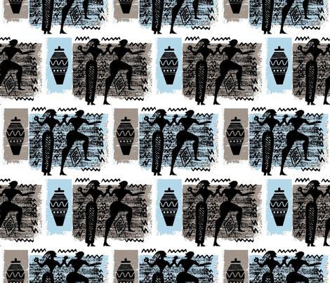 Greek Couple Eloping to Athens fabric by chickoteria on Spoonflower - custom fabric