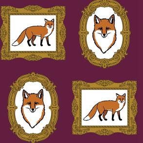 Fox Portraits On Plum