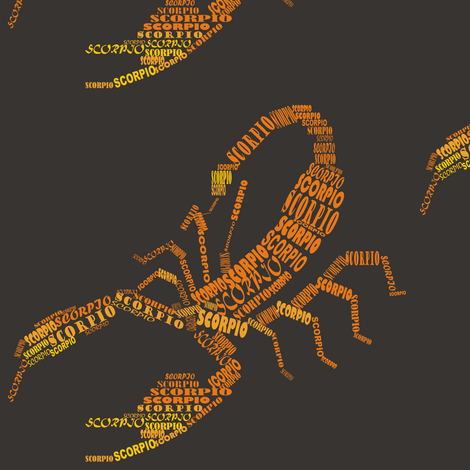 Scorpio the Scorpion Dark fabric by smuk on Spoonflower - custom fabric