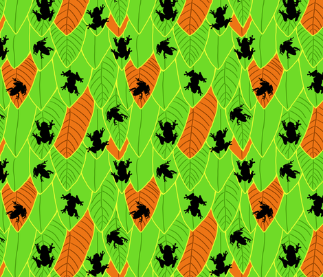 Silhouette Frogs with Orange fabric by vinpauld on Spoonflower - custom fabric