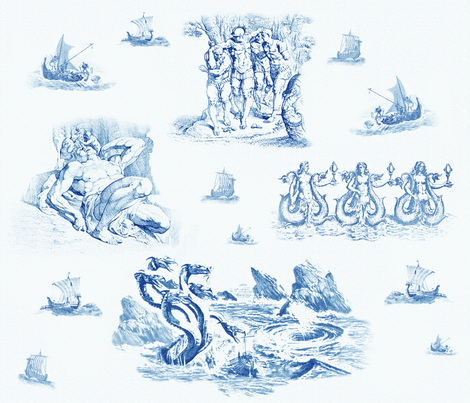 Odyssey Toile fabric by space+surface on Spoonflower - custom fabric